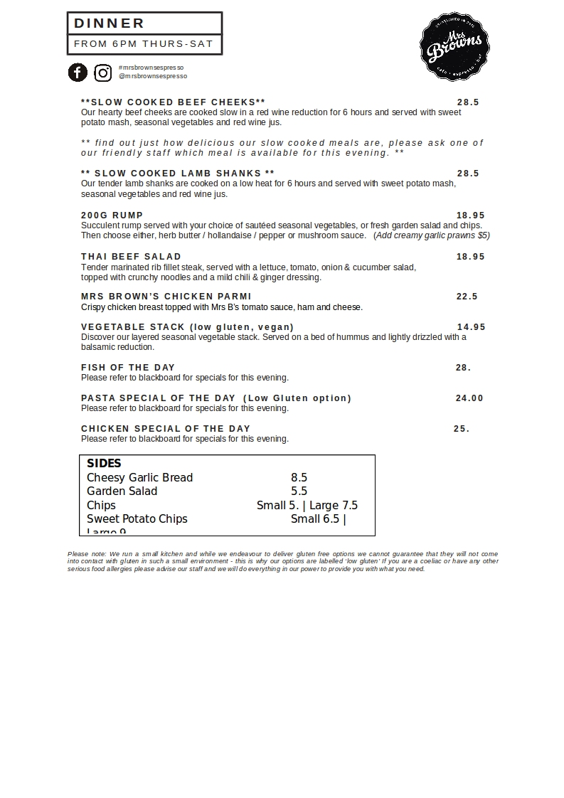 Mrs Browns Espresso & Bar Menu_DINNER