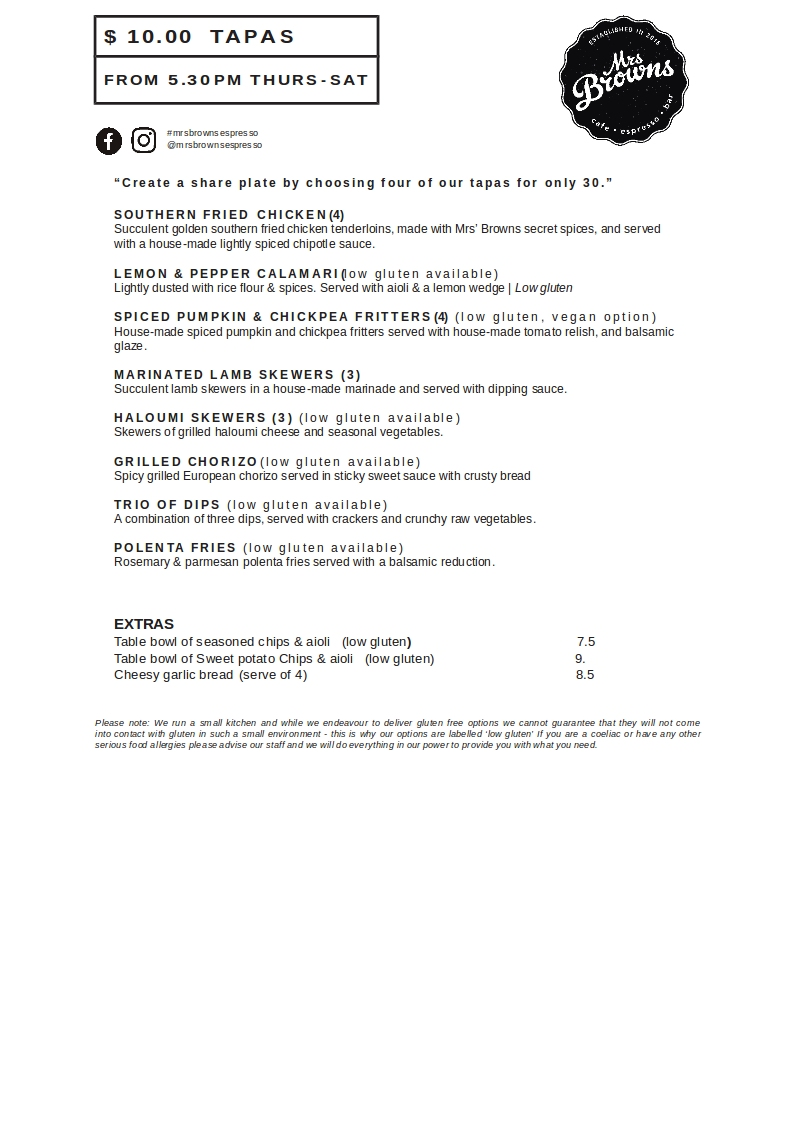 Mrs Browns Espresso & Bar Menu_TAPAS